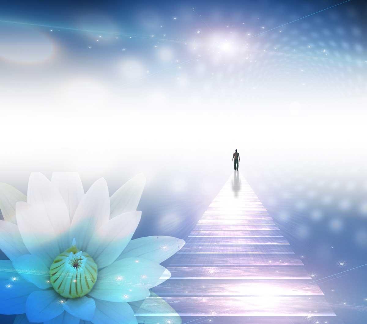 """alt=""""Heilung durch Rückführung in frühere Leben. Mensch geht auf einem leuchtenden liafarbenen Lichtsteg in ein anderes Leben."""""""