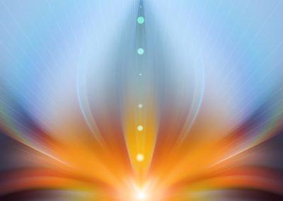 Orange spirituelle Flamme vor hellblauem Hintergrund